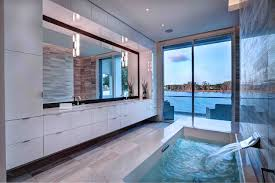 Bathroom Sunny Bathroom Features Floor To Ceiling Window And - Floor to ceiling bathroom vanity
