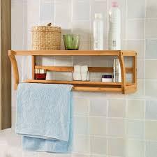 wooden bathroom rack wall mounted shelf bamboo bath towel rail