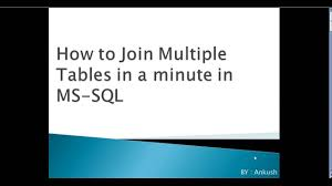 Joining Tables In Sql How To Join Multiple Tables In Ms Sql Youtube