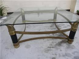 Brass Coffee Table Mid Century Italian Tomasso Barbi Attr Faux Tusk Brass Coffee