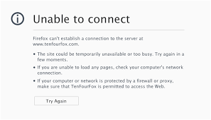 Site Unavailable - unable to connect to any sites with latest update fpr6 1 problems