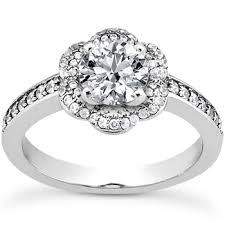 flower engagement rings diamond flower halo engagement ring setting 0 5ct 1 2ct