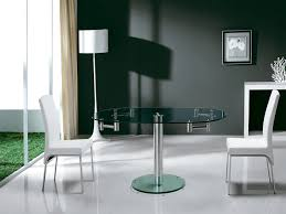 stainless steel clear glass extendable dining table by alternative views