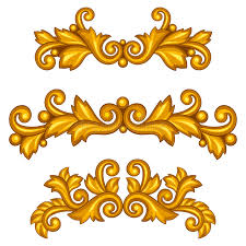 set of baroque ornamental antique gold scrolls and stock vector