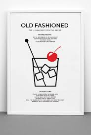 printable shot recipes old fashioned cocktail art print printable file classic cocktail