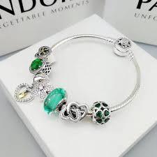 pandora jewelry silver bracelet images Pandora green charm bracelet 7 pcs charms JPG