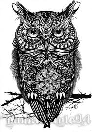 black and white owl tattoo designs