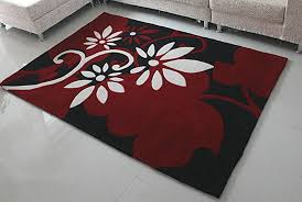 Modern Rugs Designs Black Base Big And White Flowers Design Modern Rugs And