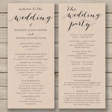 Wedding Ceremony Program Template Free Wedding Program Template Printable Wedding Program Diy