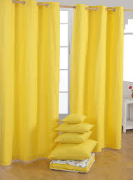 Lined Cotton Curtains Homescapes Yellow Eyelet Curtain Pair 137cm 54