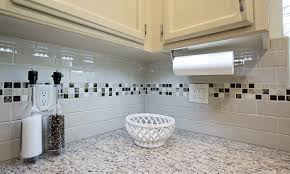 a country kitchen in white blue dreammaker bath subway tile