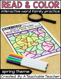 color by word family activities theme by a teachable