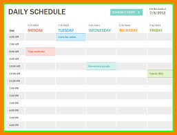 Daily Planner Template Excel Daily Schedule Template Excel Thebridgesummit Co