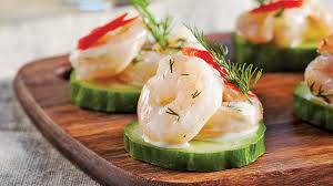 canapes apero shrimp and cucumber canapés iga recipes bell peppers herbs