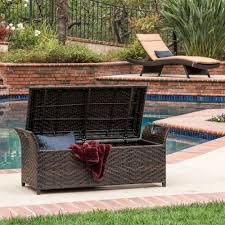 Outside Wicker Patio Furniture - deck storage bench outdoor wicker patio box rattan pool container