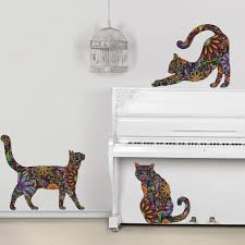 amazon com my wonderful walls repositionable cat wall decals in amazon com my wonderful walls repositionable cat wall decals in flower pattern small set of 3 home kitchen