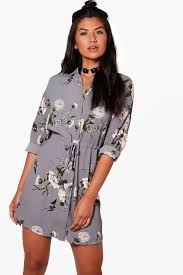 blouse dress floral shirt dress boohoo