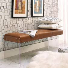 Modern Beach House Decor Bench Galileo Brown Leather Modern Living Room Bench