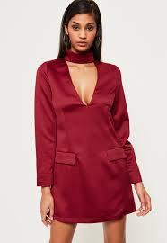 silky choker neck shift dress burgundy missguided
