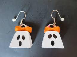 halloween earrings ghost dangle earrings white metal bells with orange bows silver
