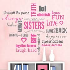 Promotion Color Aliexpress Com Buy 2 Color Saying Sisters Love Words Vinyl Wall