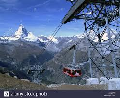 rothorn cable car with the matterhorn in the background