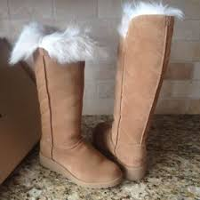 womens wedge boots size 12 ugg rosalind chestnut suede toscana fur knee high wedge boots size