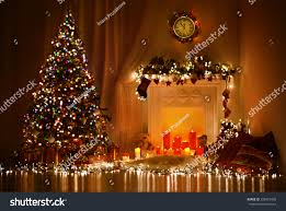 christmas room interior design xmas tree stock photo 228925420