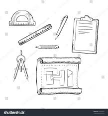 architect drawing compasses pencil pen ruler stock vector