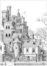 castle village architecture living coloring pages