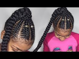 hair braided into pony tail stitch braid ponytail on natural hair youtube