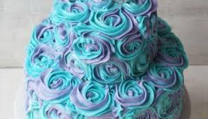 Teal Roses Purple U0026 Teal Swirled Buttercream Roses Cake Rose Bakes
