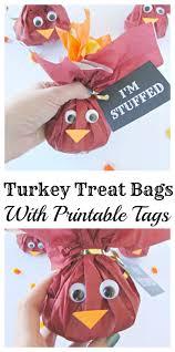 turkey treat bags with printable tags printable tags goodies