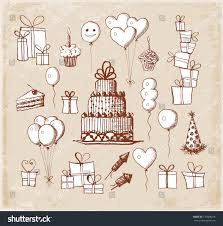 set birthday sketch objects vintage style stock vector 172808228