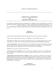 llc operating agreement template 6 free templates in pdf word