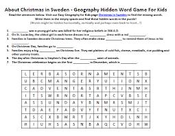 christmas in sweden worksheet free kids science word search games