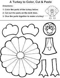 cut paste color turkey coloring pages kids