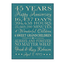 45 year anniversary gift personalized 45th anniversary gift for by dayspringmilestones