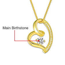 birthstone necklace for custom heart necklace gold color birthstone necklace for