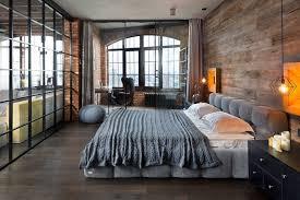 industrial loft bedroom design adjacent to workspace area near