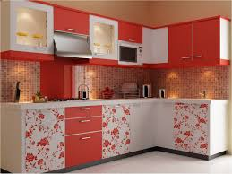 glamorous tiled kitchen design with ceramic mozaic tiled and red