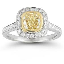 canary yellow engagement ring canary yellow and white bezel set ring