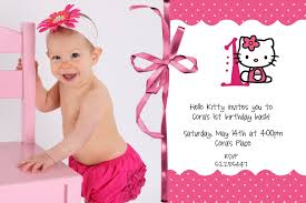 Baby 1st Birthday Invitation Card Mom S Bubbly Ideas Blog Archive Hello Kitty Invitations