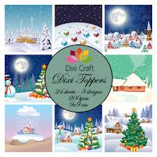 dixi craft 24 individual toppers christmas villages 2 foil