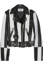 white motorcycle jacket acne studios mape petite striped leather jacket fashion