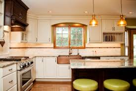 hint of green two tone kitchen with copper accents copper farm