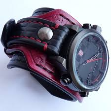 black leather strap bracelet images Black red leather cuff watch wrist watch leather men 39 s watch JPG