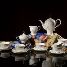 fine bone china tea set 15 pieces with gold gilded rim and