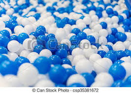 picture of a lot of blue and white plastic balls in playroom