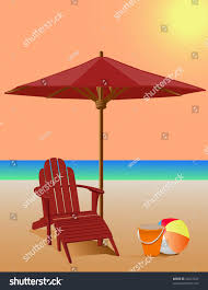 Beach Umbrella And Chair Beach Scene Adirondack Chair Market Umbrella Stock Vector 32412520